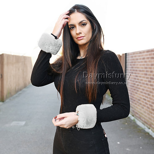 Slap On Rex Rabbit Fur Cuffs Bracelets - Light Grey