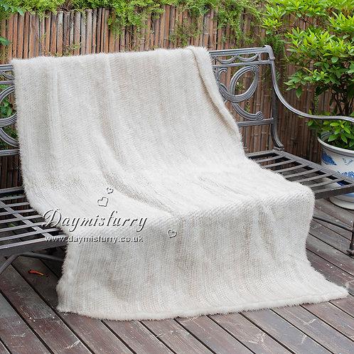 DMD80C Knit Cream Mink Fur Throw Blanket