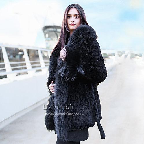 DMGA142  Knit Danish Mink Fur Coat With Fox Fur Collar and Trim