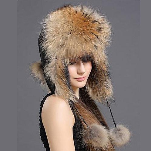 DMC38A Finn Raccoon Fur and Waterproof Fabric Russian Hat