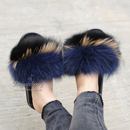 DMA82P Fox Fur Slippers -  After Dark