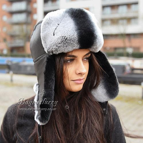 DMC10 Chinchilla Print Rex Rabbit  Fur Trapper Hat
