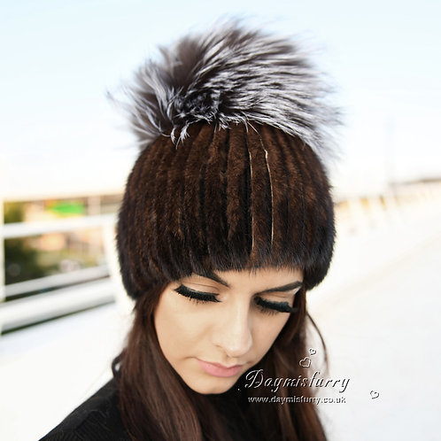 DMC16C Mink Fur Hat Beanie With Silver Fox Fur Pom Pom