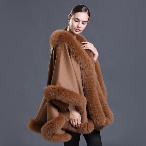 DMBP67E  Wool Pashmina Shawl  With Fox Fur Trim