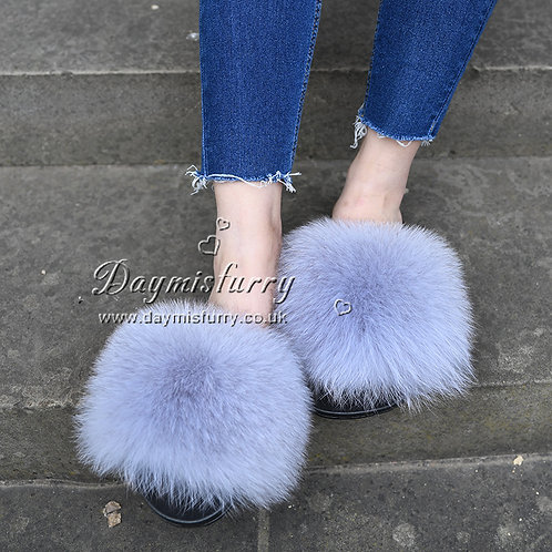 Fox Fur Slipper - Light Grey