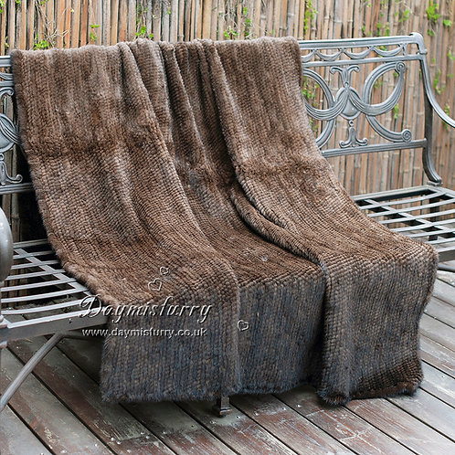 DMD21B Chocolate Knit Mink Fur Throw Blanket