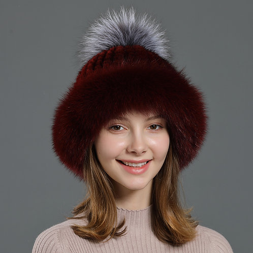 DMC93A  Fox Fur Roller Mink Fur Beanie Hat With Silver Fox Fur Pom Pom