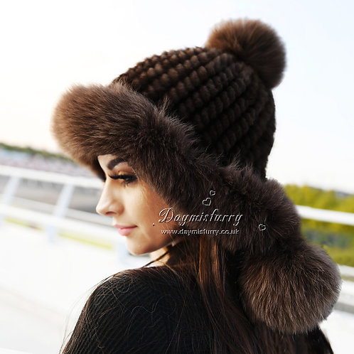 DMC60C  Mink Fur Hat Cap With  Fox Fur Trim - Chocolate