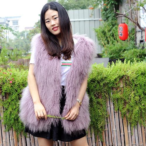 DMGB83 Chic Mongolia Lamb Duster Vest -Lilac