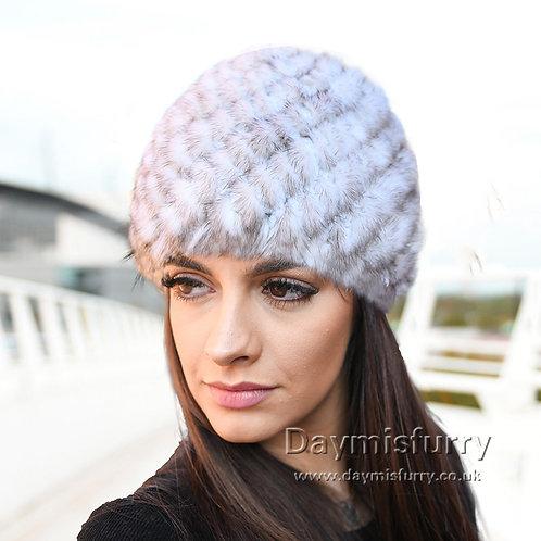 DMC53B Off White Mink Fur Beanie Cap Hat