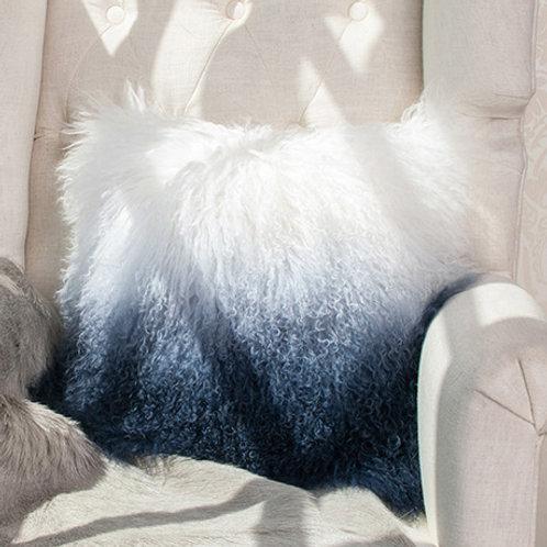 DMD57A  Mongolian Lamb Fur Throw Pillow Case | Cushion Cover 19.7 x 19.7|
