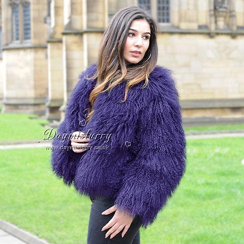 DMGA27M  Mongolia Lamb Fur Jacket -Violet