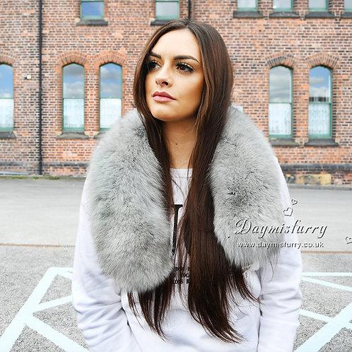 DMA65 Large Detachable Fox Fur Collar - Light Grey