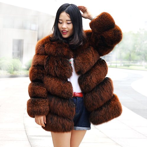 DMGA84 Extremely Luxe Dyed  Fox Fur Horizontal Design Coat