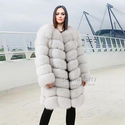 DMGA79 Luxury Fox  Fur Coat - Off White