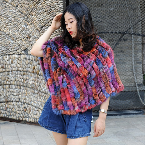 DMB47B Rabbit Fur Lady Poncho In Colorful Style