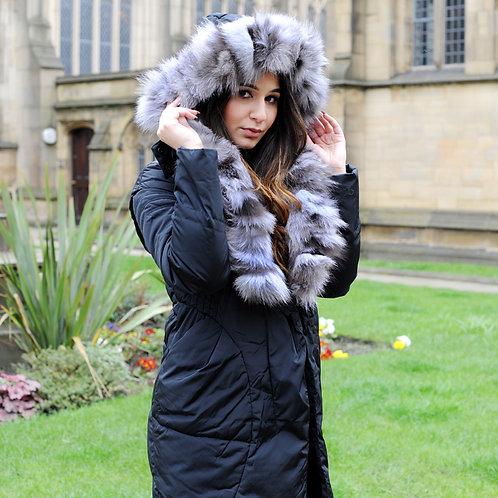 DMGD06A Black Down Jacket With Silver Fox Fur Collar