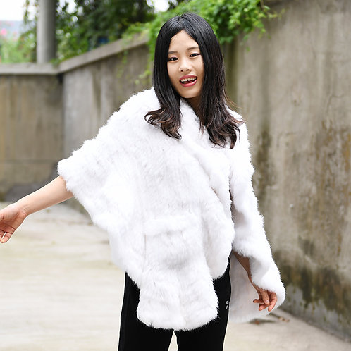 DMB83A Knit Rabbit Fur Shawl With Ruffled Edge-White