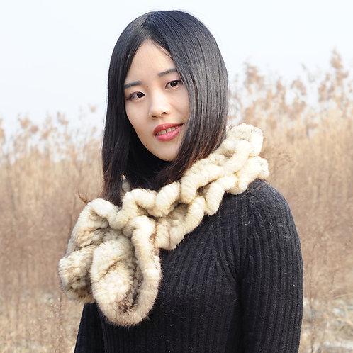 DMS83R Knit Sunlight Mink Fur Scarf