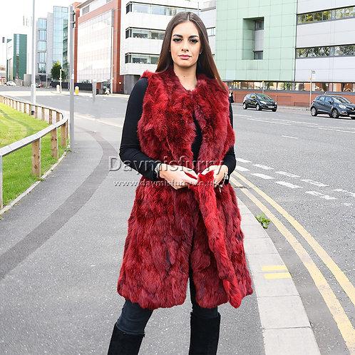 DMGB40F Pieced Rabbit Fur Vest, Real Fur Gilet