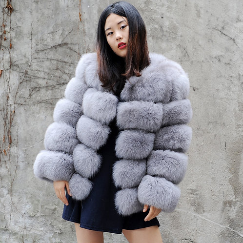 DMGA245 Extremely Luxe Dyed Grey Fox Fur Horizontal Design Coat
