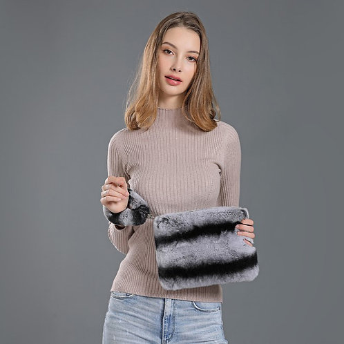 DMH04A Rex Rabbit Fur Hand Bag / Makeup Bag / Party Gift / Makeup Pouch