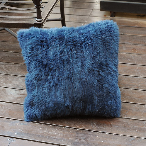 DMD79 Knit  Rabbit Fur Pillow in Navy -19.5 inches