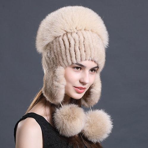 DMC61F  Mink Fur Hat With  Fox Fur Pom Poms and Top