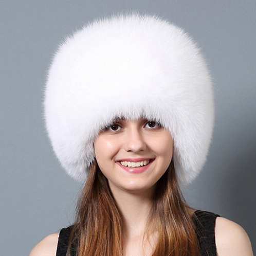DMC77G  Fox Fur Hat with Rex Rabbit Fur Top