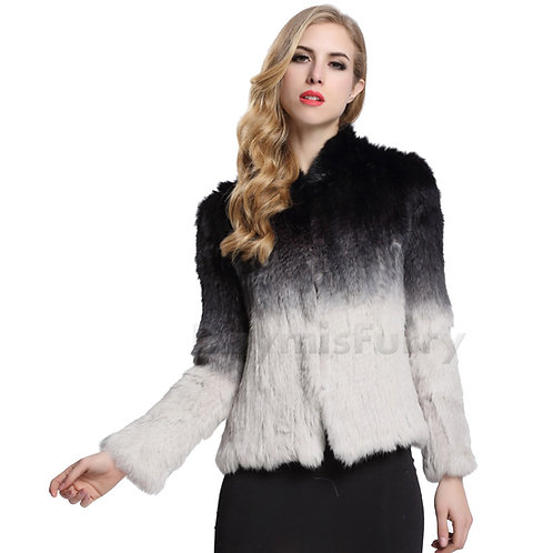 DMGA145 Knitted Rabbit Fur Ombre Sweater Jacket