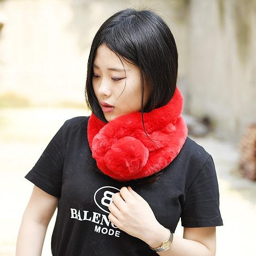 DMFS01E Faux Fur Scarf with Pom Pom-Red