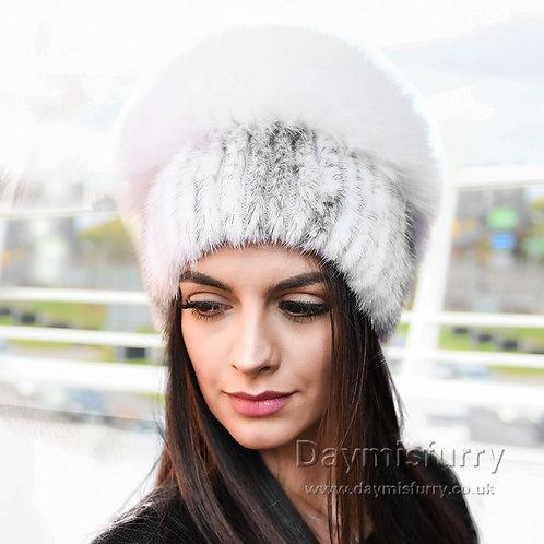DMC57A Cross Mink Fur Hat With Fox Fur Top