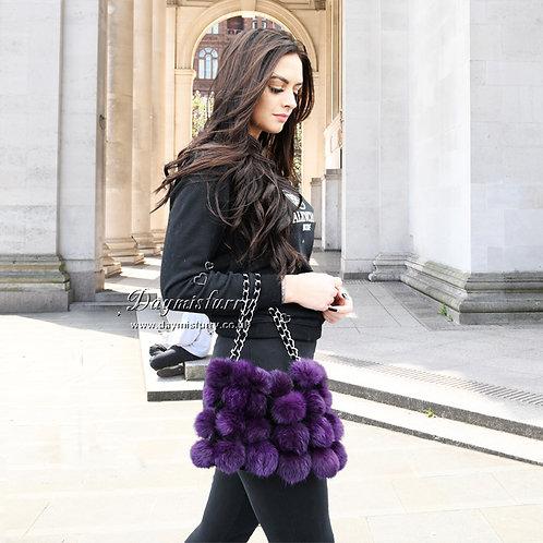 DMH11G Rabbit Fur Pom Pom  Bag In Purple
