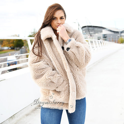 DMGT01B Beige Sheep Wool Teddy Bear Coat