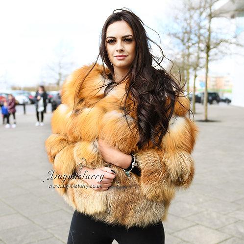 DMGA11B  Luxury Red  Fox Fur Coat / Fur Jacket