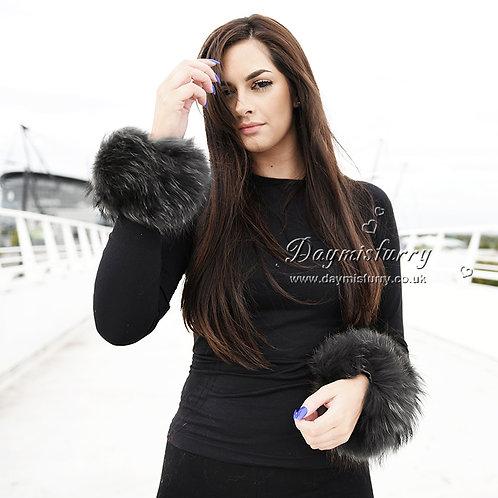 Bridget Finn Raccoon Fur Slap on Cuff Bracelet - Dark Grey