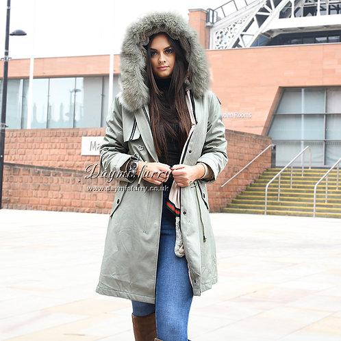 DMBP32A Rabbit Fur Winter Jacket Parka with Fox Fur Trim