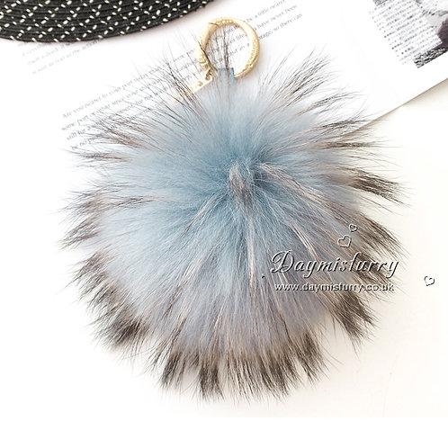 DMR50 Large Raccoon Fur Pom Pom  Bag Charm
