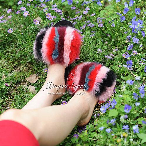 DMA100F Colorful Fox Fur Slides