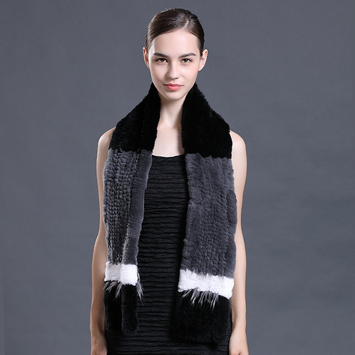 DMS109 Knit Rex Rabbit Fur Scarf