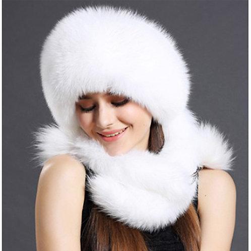 DMC175B White Fox Fur Hat with Rex rabbit Top