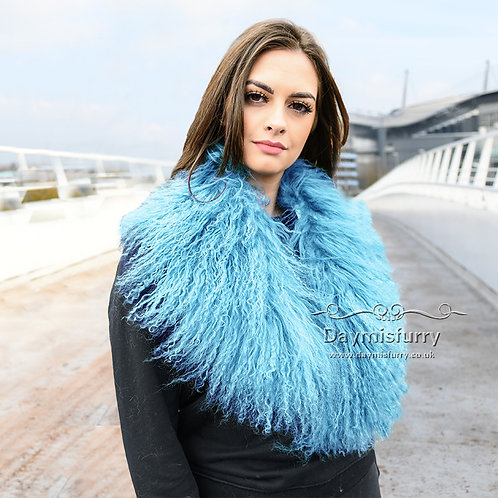 DMA52W Detachable Mongolian Lamb Fur Collar Fur Scarf