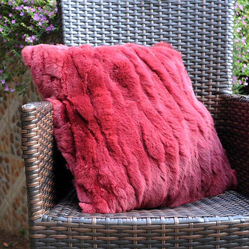 DMD27 Pieced Rex Rabbit Fur Pillow Cover