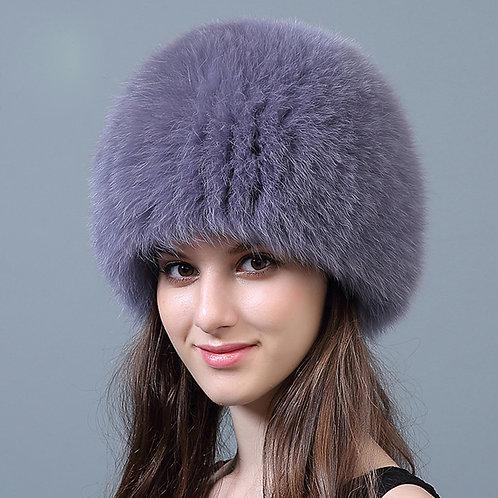 DMC215F Knit Finn Black  Fox Fur Hat