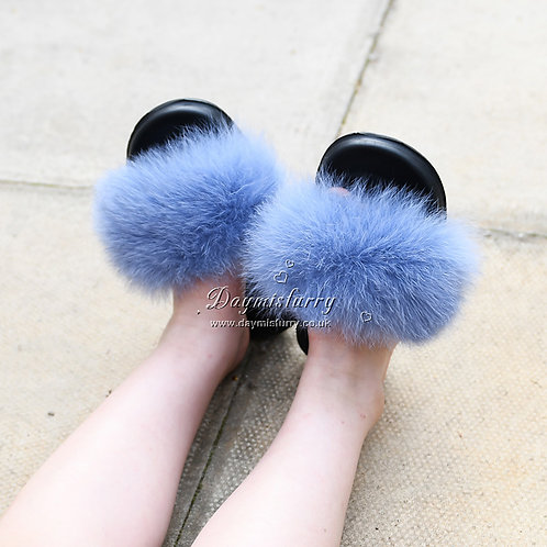 DMA66K Fox Fur Children's Slipper - Sky