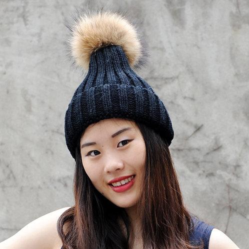 DMC237A Single Raccoon Fur Pom Pom Beanie Hat