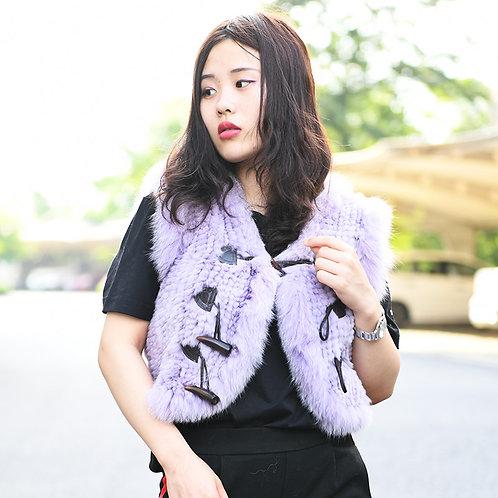DMGB47 Knitted Rabbit Fur Gilet With Fox Fur Trim