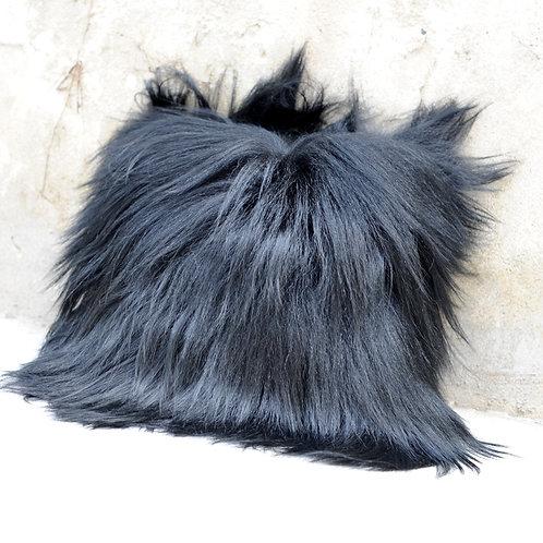 DMD91  Black Goat Fur Pillow / Cushion Cover