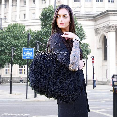 DMH24A Black Mongolia Lamb Fur Lady Bag