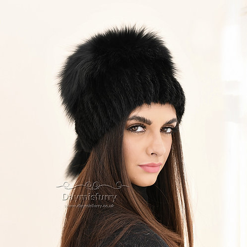 DMC57E  Black Mink Fur Beanie Fur hat With Fox Fur Top